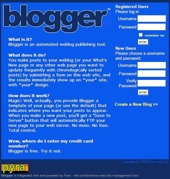Blogger.com 1999 год