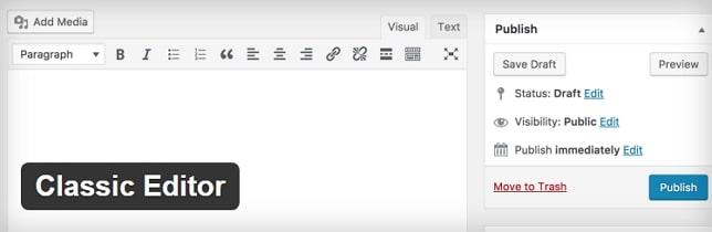 Классический редактор WP