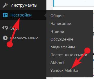 Яндекс. Метрика настройка плагина