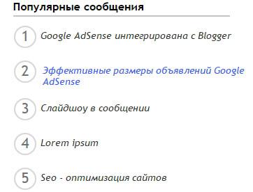 Гаджет для блоггер Популярные сообщения