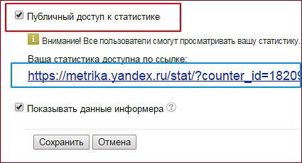 Ссылка на статистику от Яндекс.Метрики