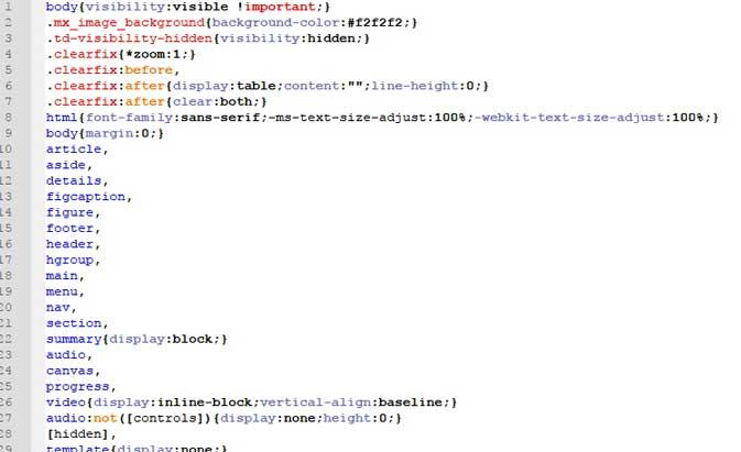 Оптимизированный код CSS