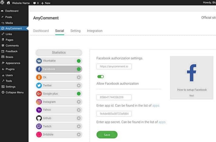 Укажите API ключи в специальном месте настроек социальных сетей