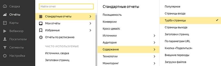 Отчет доступен в Яндекс.Метрике