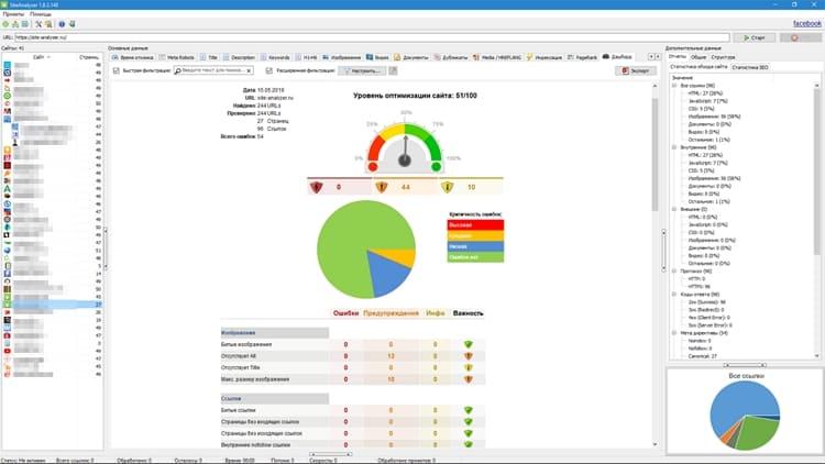 SiteAnalyzer эффективно проводить технический аудит сайтов, находить и исправлять ошибки SEO-оптимизации