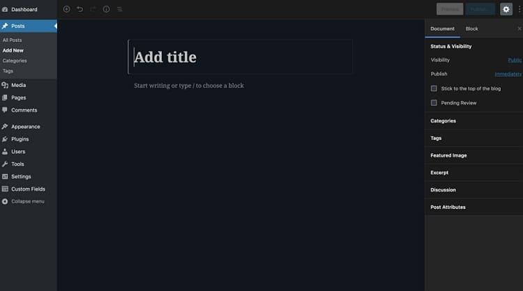 Используйте WordPress в тёмном цвете