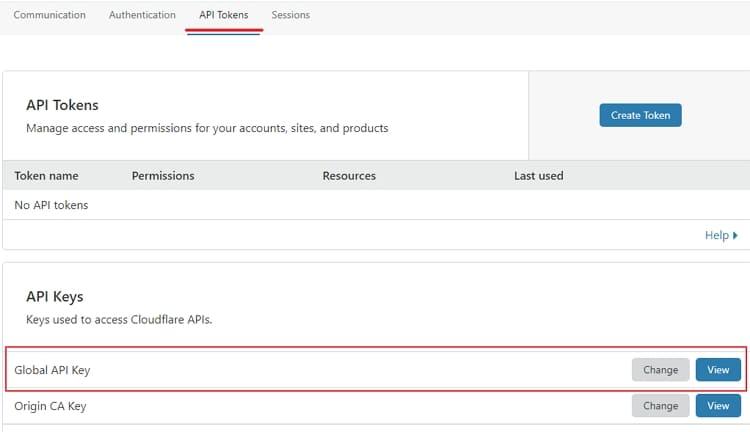 Получите глобальный ключ API
