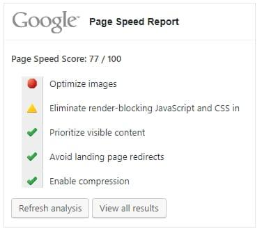 Оценка скорости страницы: 77/100