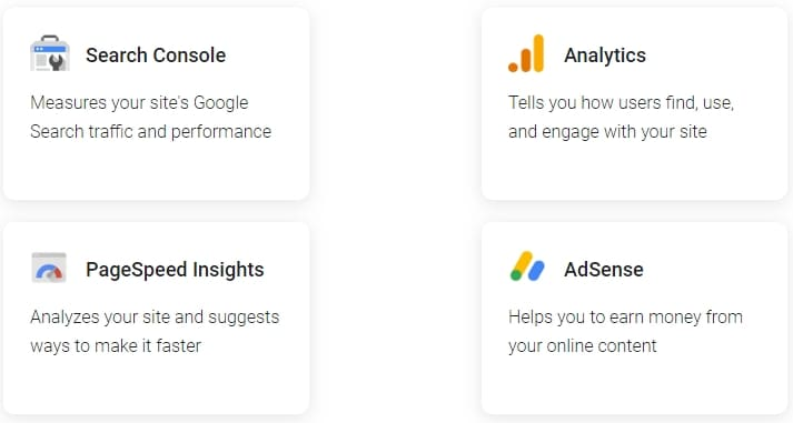 Вот доступные продукты Google, которые вы можете активировать в Site Kit