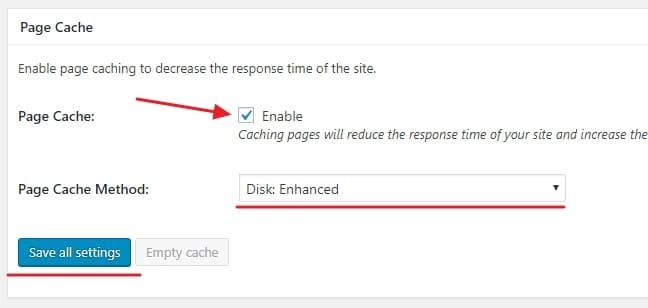 Включите кэширование страниц, чтобы уменьшить время отклика сайта