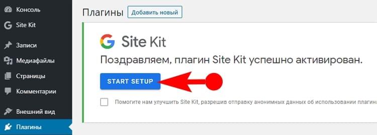 Поздравляем, плагин Site Kit успешно активирован