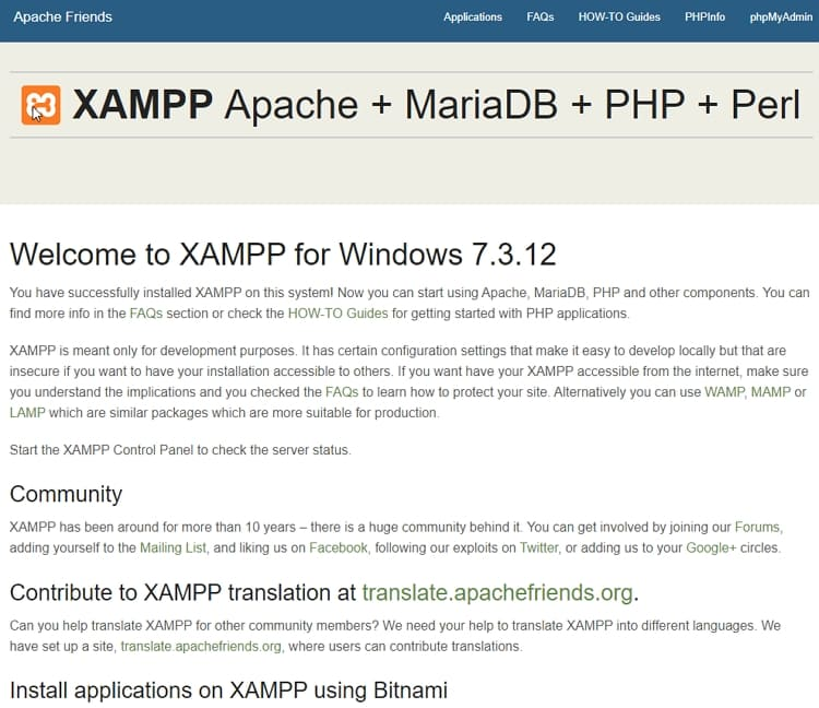 Запустите панель управления XAMPP, чтобы проверить состояние сервера.
