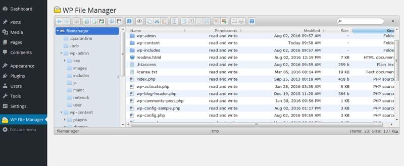 FTP-подобный файловый менеджер в WordPress