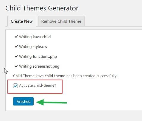 Не забудьте активировать свою созданную дочернюю тему WordPress