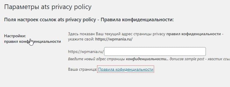 Поле настроек ссылки ats privacy policy - Правила конфиденциальности