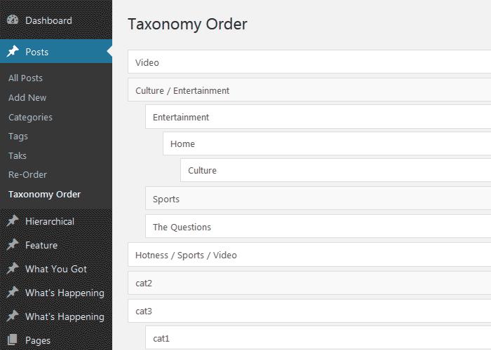 Сортировка категорий и таксономия (иерархия) элементов