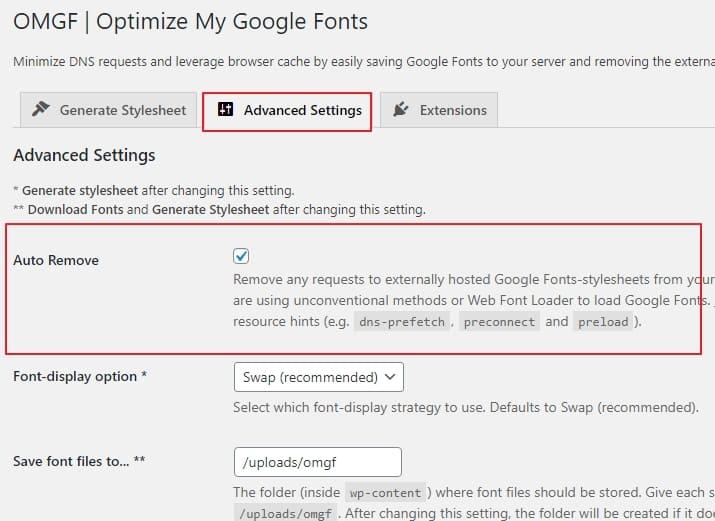 Удалите любые запросы к внешним таблицам стилей Google Fonts из вашего WordPress