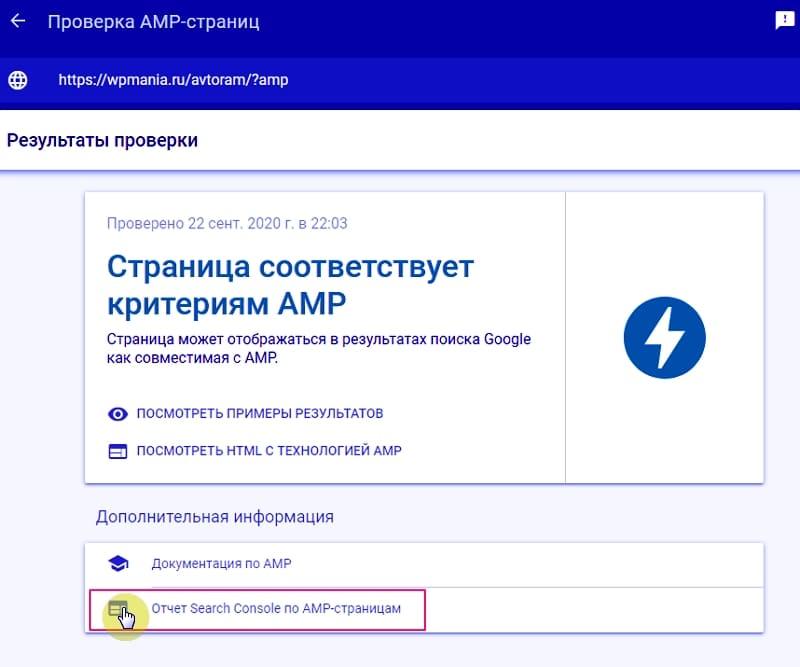 Страница может отображаться в результатах поиска Google как совместимая с AMP