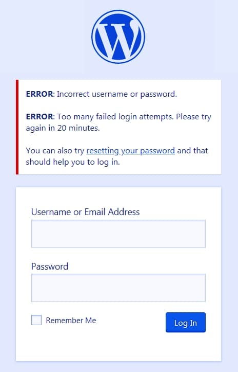 Вход в систему WordPress заблокирован