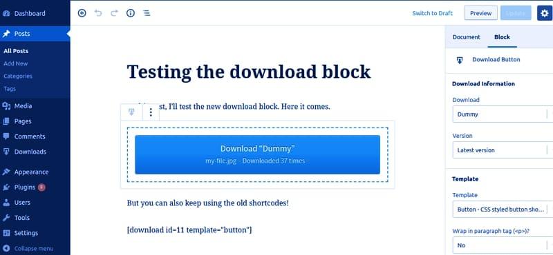 Новый блок загрузки Download Monitor