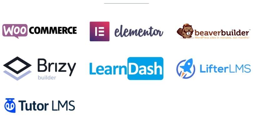 LifterLMS, Elementor, Brizy, Beaver Builder, LearnDash, Tutor LMS, WooCommerce