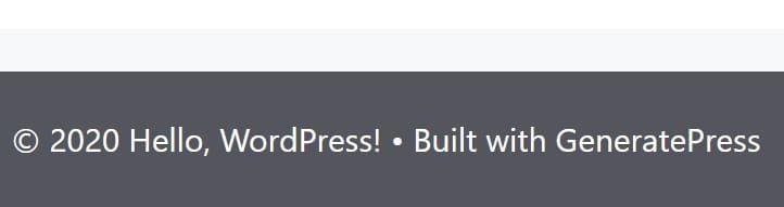 Как удалить ссылку Built with GeneratePress (Создан с помощью GeneratePress)