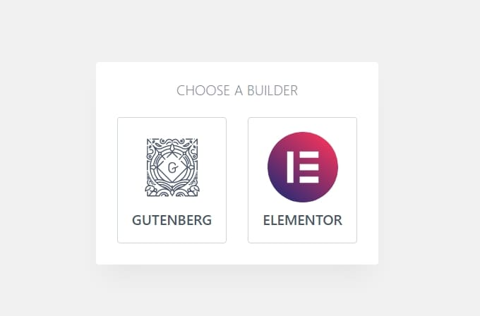 Выберите шаблон Elementor или Gutenberg для импорта