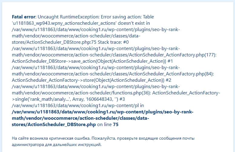 Неустранимая ошибка Rank Math SEO при некоторых установках после обновления 1.0.49
