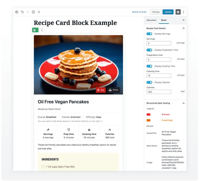 Красивые блоки карточек рецептов с разметкой схемы для WordPress