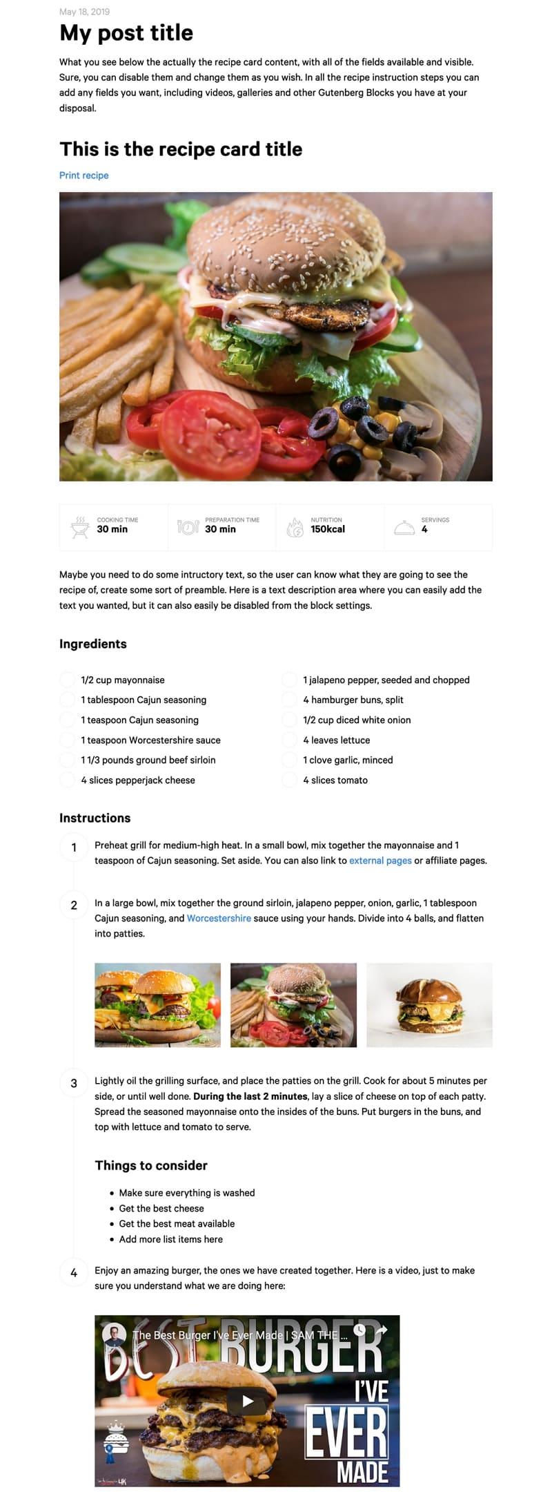 Блок рецептов WordPress работает с любой темой