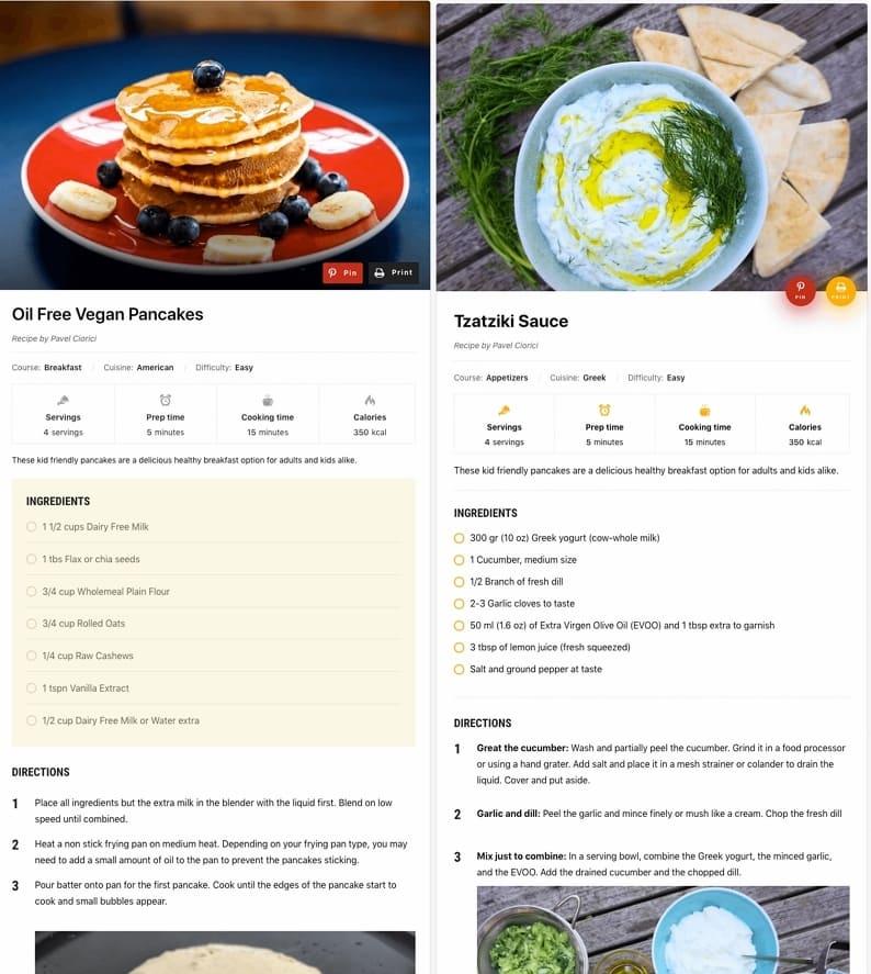Несколько дизайнов карточки рецепта WordPress