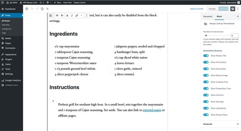 Карта рецептов WordPress в новом редакторе