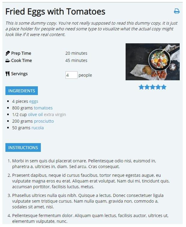 Плагин WordPress для рецептов