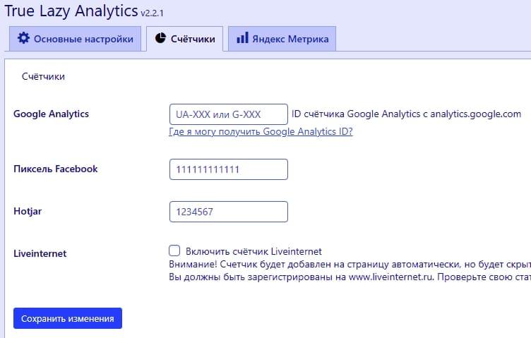 Настройте плагин на странице настроек WP Booster - True Lazy Analytics